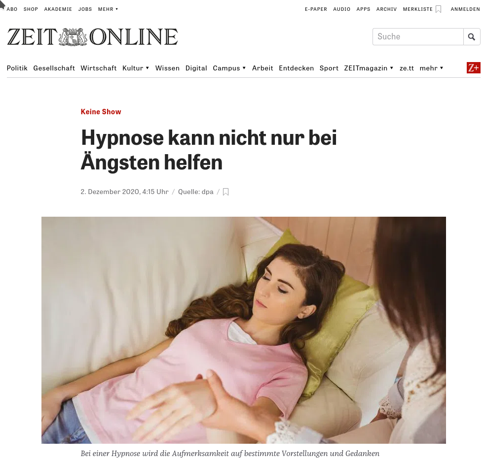 Interview in der Zeit zu Thema Hypnotherapie